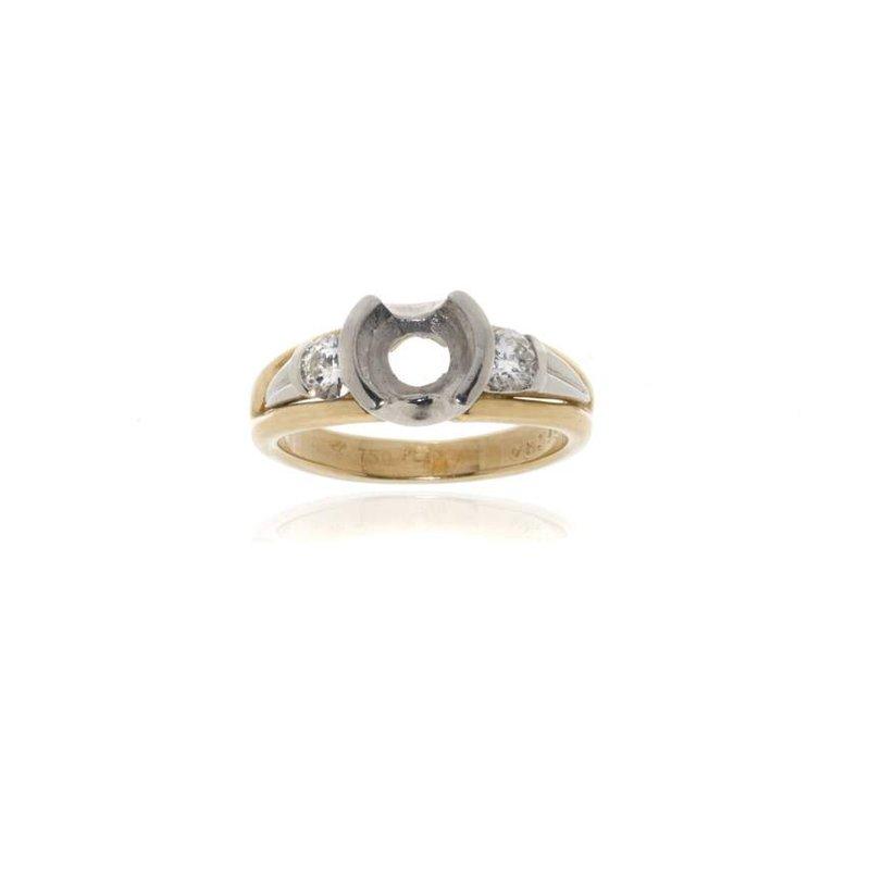 18K Gold, Platinum and Diamond Semi-Mount Engagement Ring
