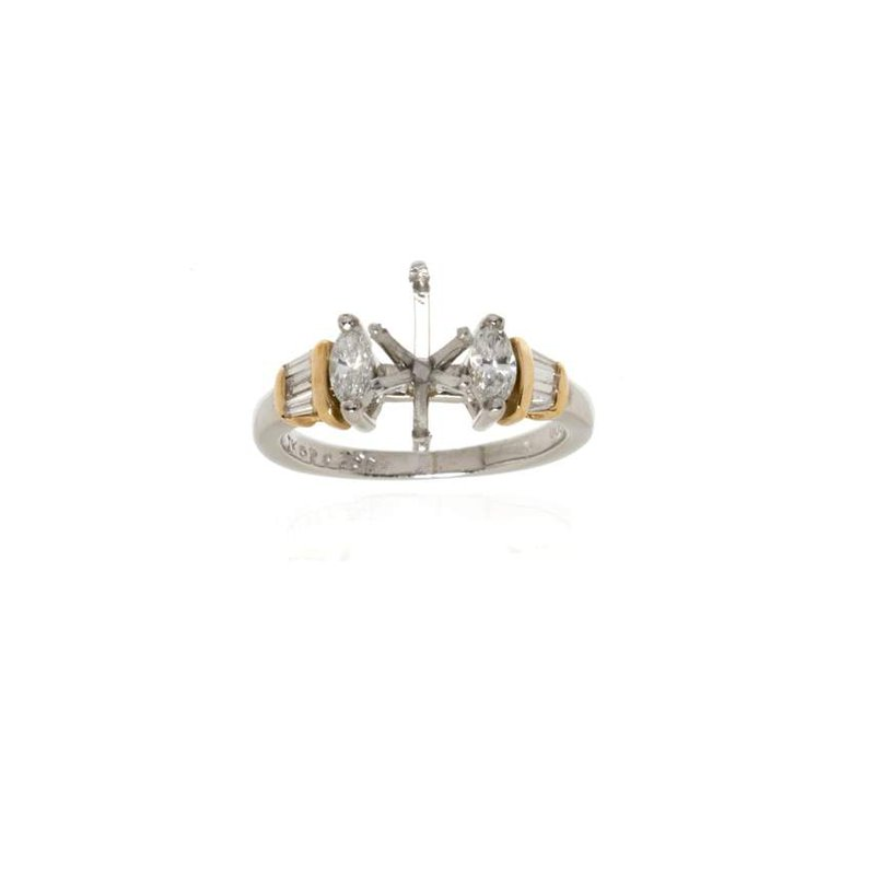 18K Yellow Gold and Platinum Diamond Semi-Mount Engagement Ring