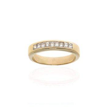 14K Yellow Gold and Diamond Gentleman's Wedding Band