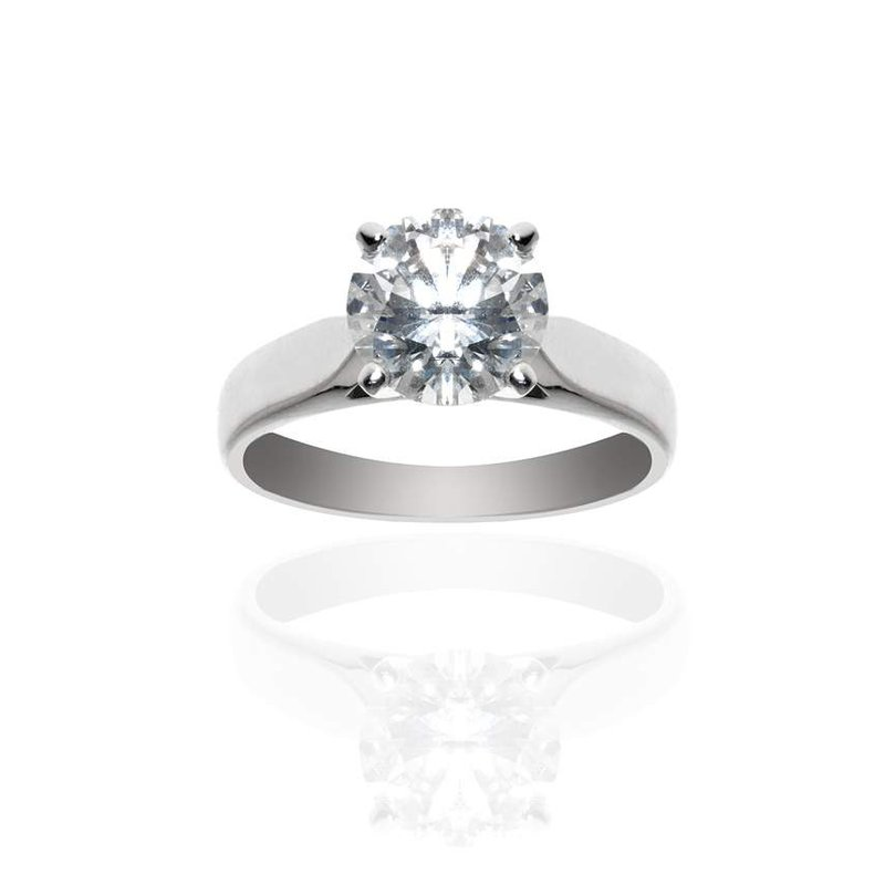 14K White Gold and Solitaire Diamond Engagement Ring