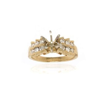 14K Yellow Gold and Diamond Semi-Mount Engagement Ring