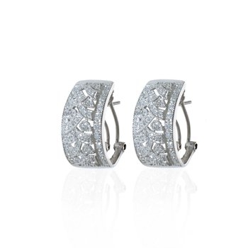 14K White Gold and Diamond, Vintage William Lam Earrings