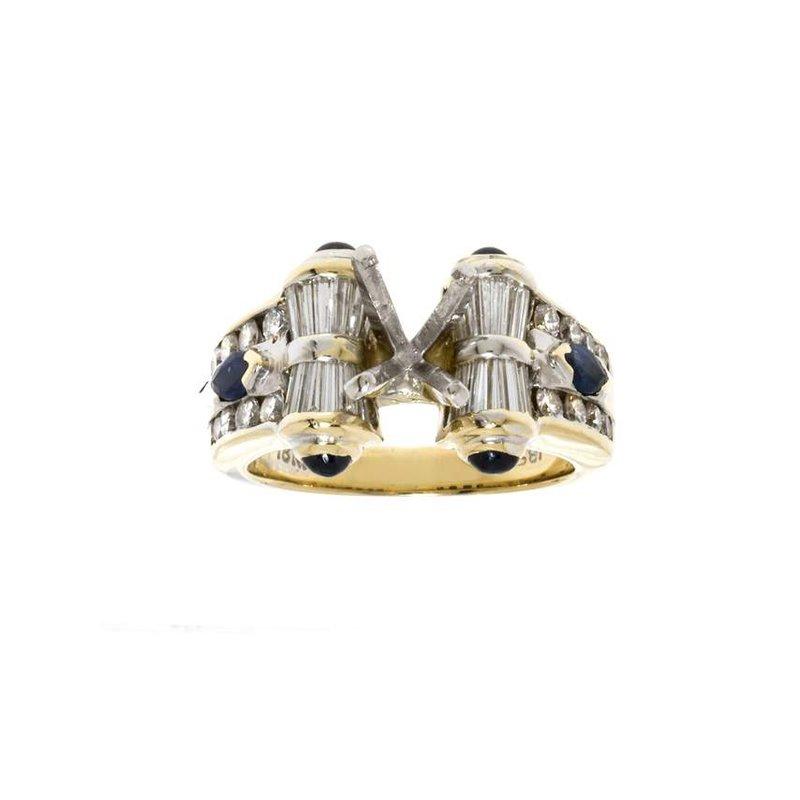 18K Yellow Gold Diamond and Sapphire Semi-Mount Engagement Ring