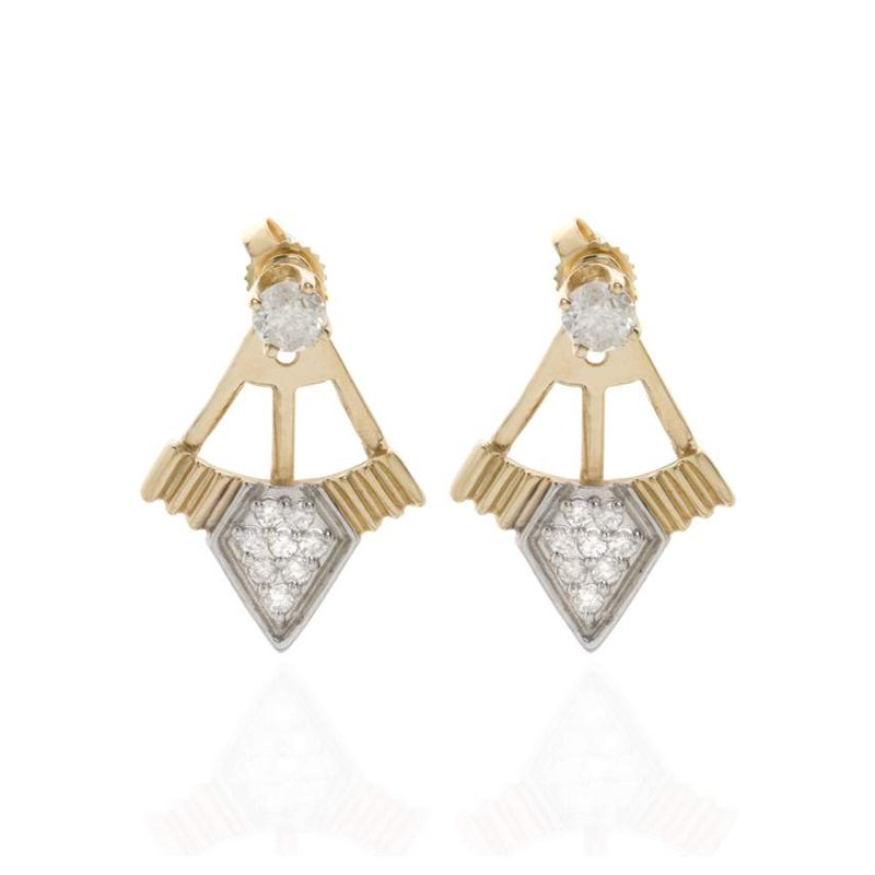14K Yellow Gold and Diamond Earring Jackets