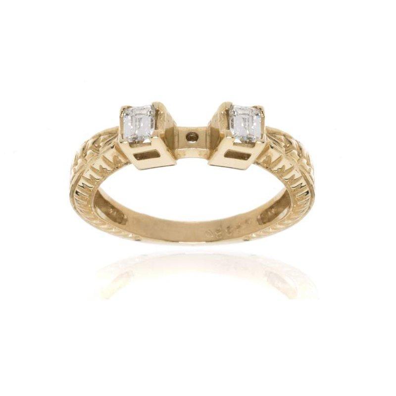 14K  Yellow Gold and Diamond Semi-Mount Engagement Ring