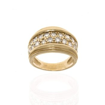 14K Yellow Gold and Diamond Wedding Band