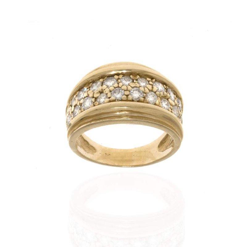 14K Yellow Gold and Diamond Wedding Band