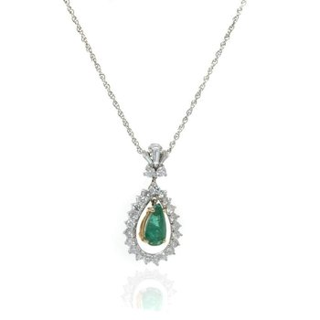 14K White  Gold, Emerald, and Diamond Necklace