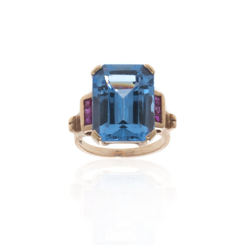 14K Rose Gold, Blue Topaz and Pink Sapphire Ring