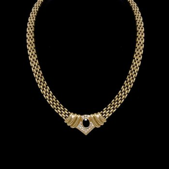 14K Yellow Gold Sapphire and Diamond Necklace