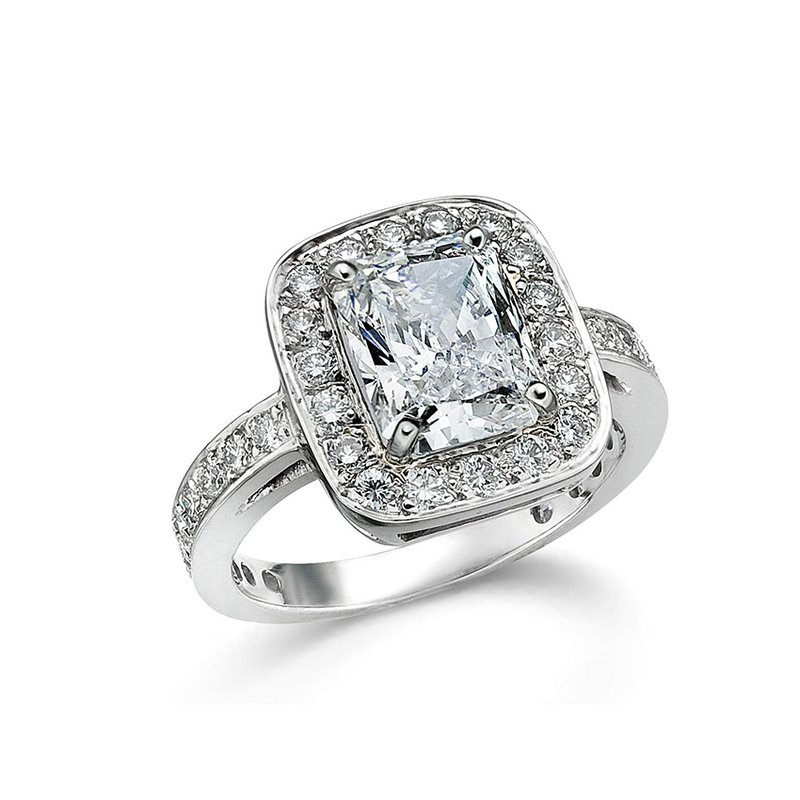 Platinum and Diamond Halo Engagement Ring