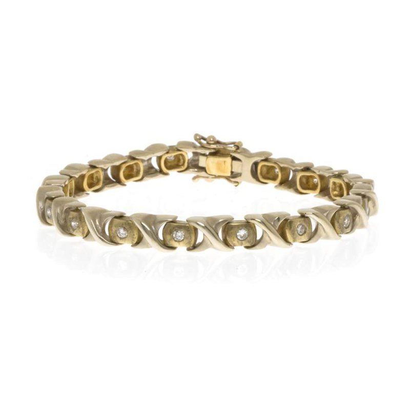 """18K Yellow Gold and Diamond """"X and O"""" Bracelet"""