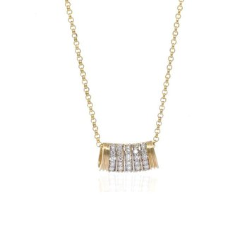 14K Yellow Gold and Diamond Slide Necklace
