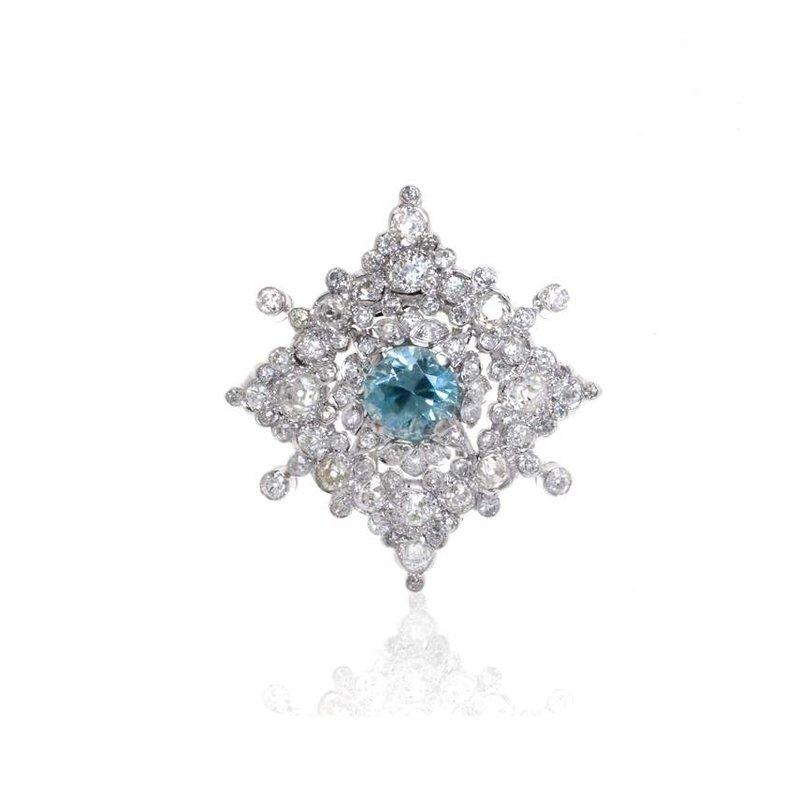 Platinum Diamond and Blue Zircon Brooch