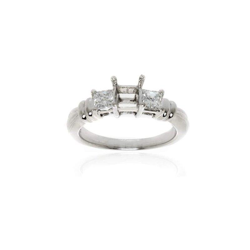 Platinum and Diamond Three Stone Semi-Mount Engagement Ring