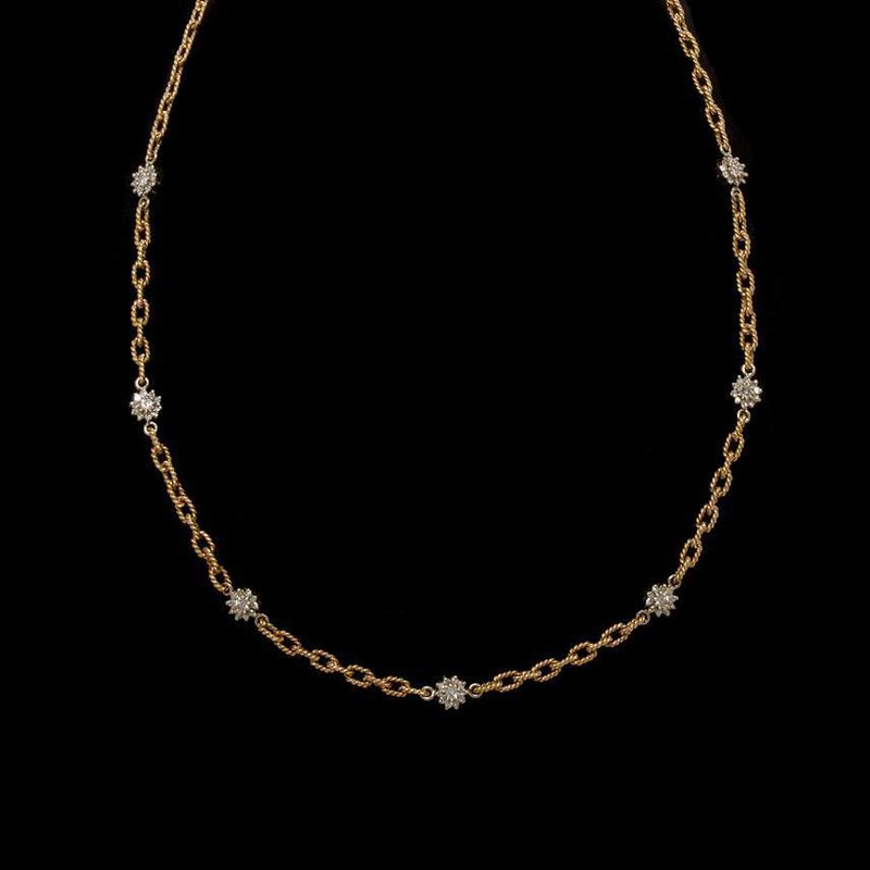 14K Two-Tone Gold and Diamond Reversible Necklace