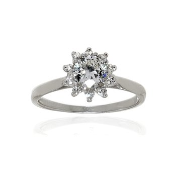 14K White Gold and Diamond Vintage Halo Ring