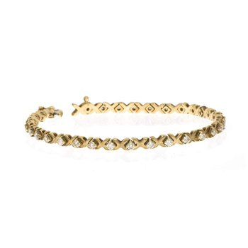 "14K Yellow Gold and Diamond ""X and O"" Tennis Bracelet"