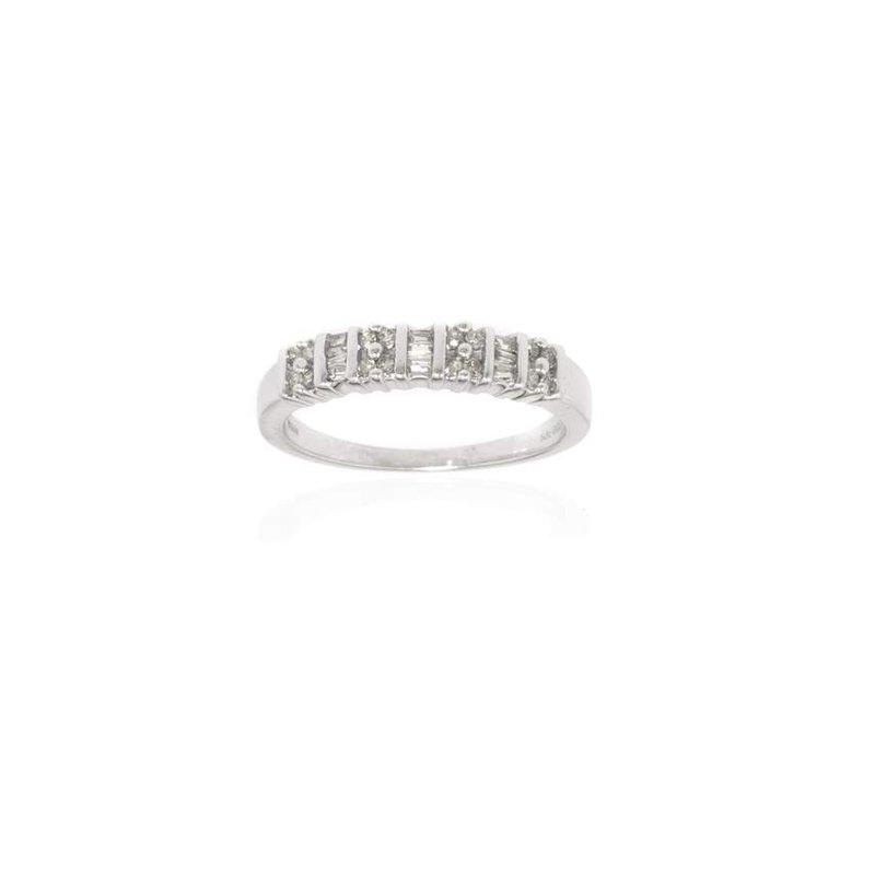 14K White Gold and Diamond Wedding Band