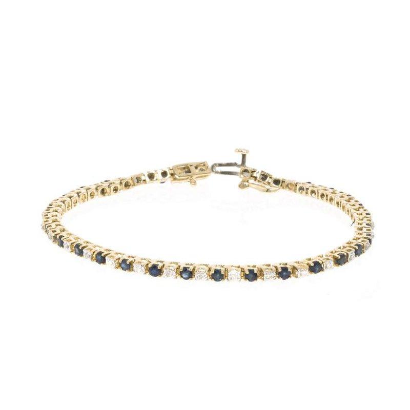 14K Yellow Gold Diamond and Sapphire Tennis Bracelet