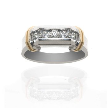 14K Two-Tone Gold and Diamond Gentleman's Wedding Band