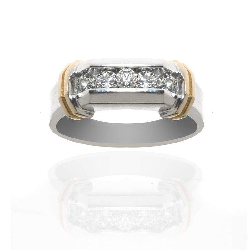 14K Two-Tone Gold and Diamond Gentleman's Wedding Band