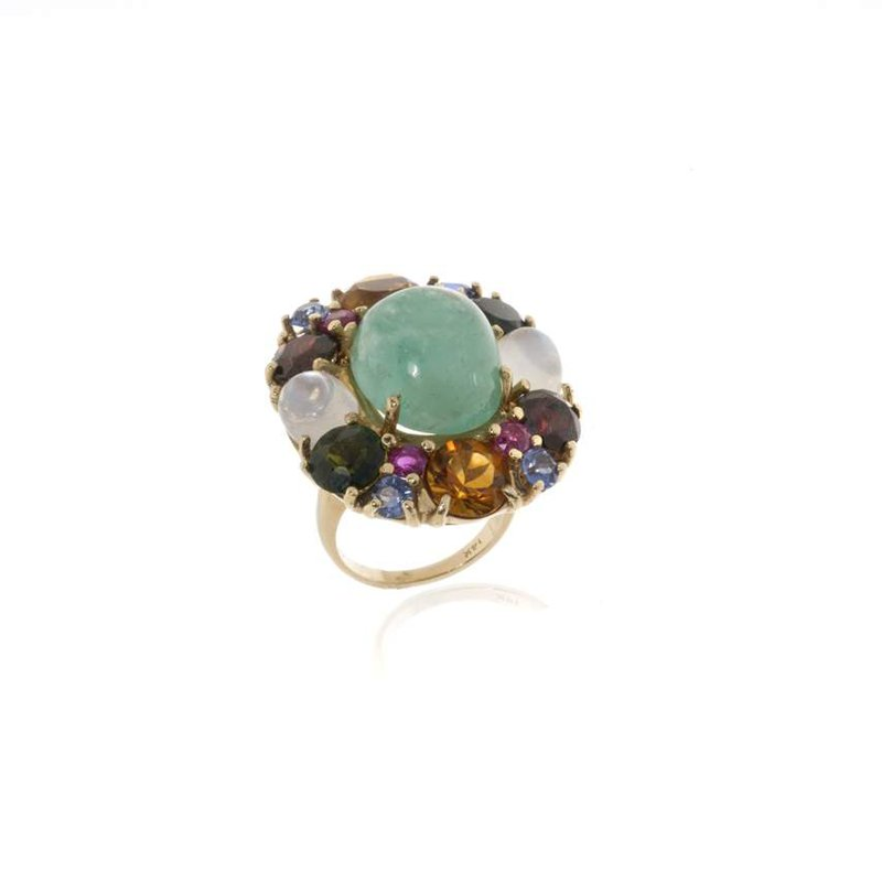 14K  Yellow Gold, Emerald and Colored Stone Ring