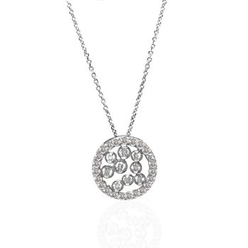 14K White Gold and Diamond Circular Necklace