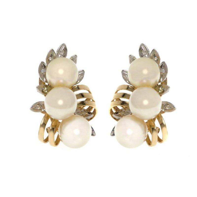 14K Two-Tone Gold Diamond and Pearl Earrings