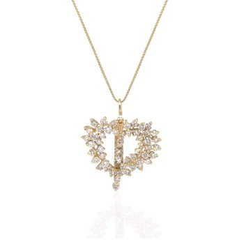 14K Yellow Gold Diamond Heart Necklace