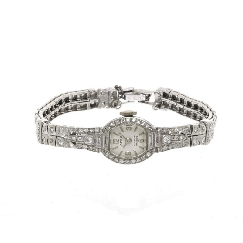 Platinum and Diamond Vintage Apex  Ladies Watch