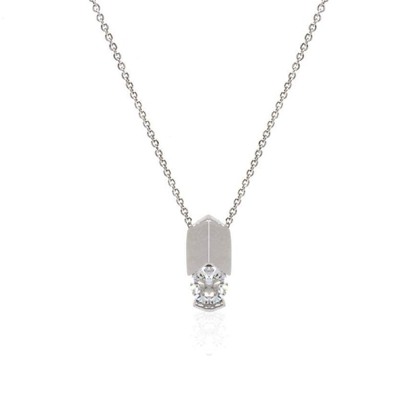 14K White Gold and Diamond Solitaire Necklace