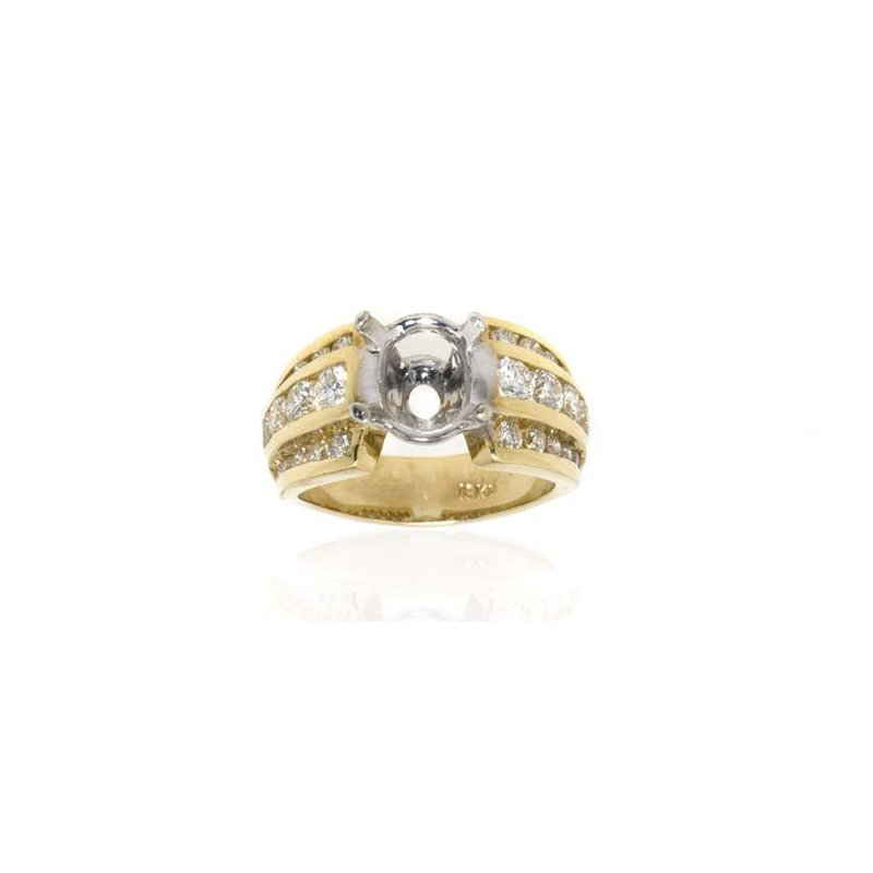 18K Two-Tone Gold and Diamond Semi-Mount Engagement Ring