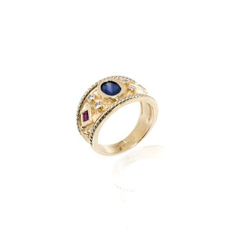 14K Yellow Gold, Glue Sapphire, Ruby and Diamond Ring