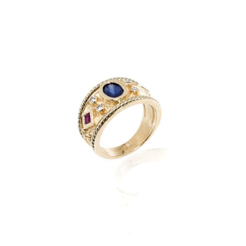 14K Yellow Gold, Glue Sapphire, Ruby and Diamond Ring