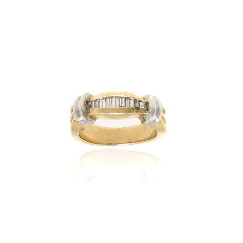14K Two-Tone Gold and Diamond Wedding Band