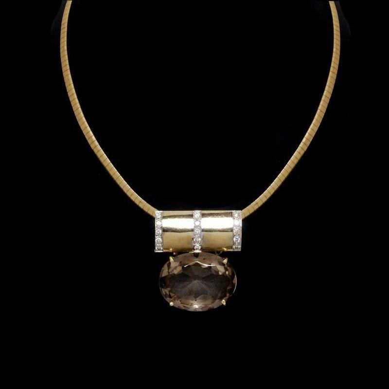 18K Yellow Gold Smokey Quartz and Diamond Slide  Necklace