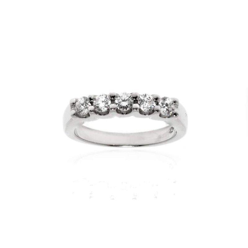 18K White Gold and Diamond Wedding Band