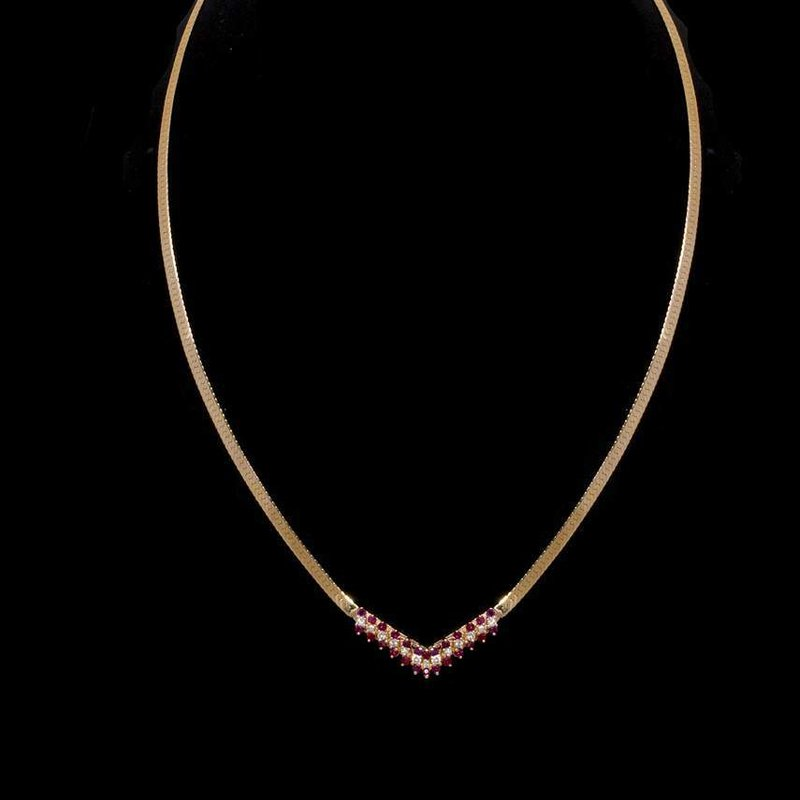 14K Yellow Gold Diamond and Ruby Necklace