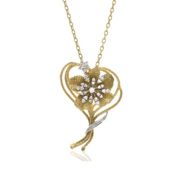 18K Yellow Gold and Diamond Brooch