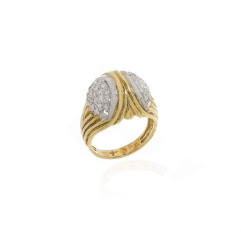 18K Two-Tone Gold and Diamond Bridge Style Ring