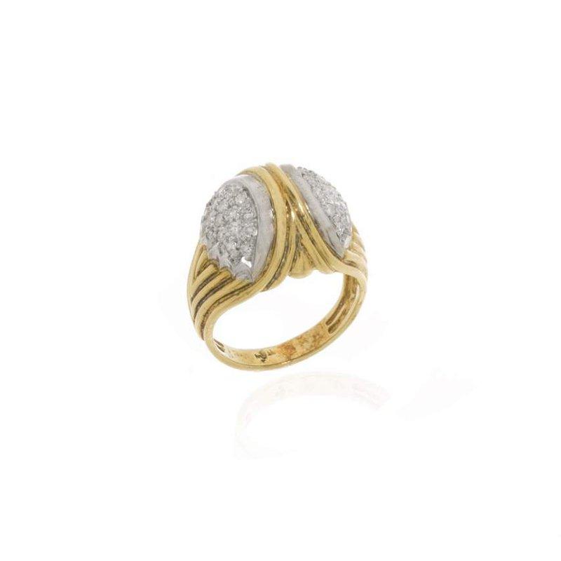 18K Two-Tone Gold and Diamond Bridge Style Ring