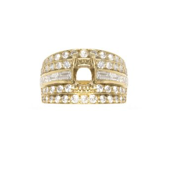 18K Yellow Gold and Diamond Semi-Mount Engagement Ring