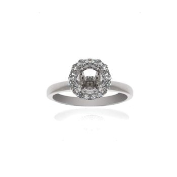 14K White gold and Diamond Halo Semi-Mount Engagement Ring