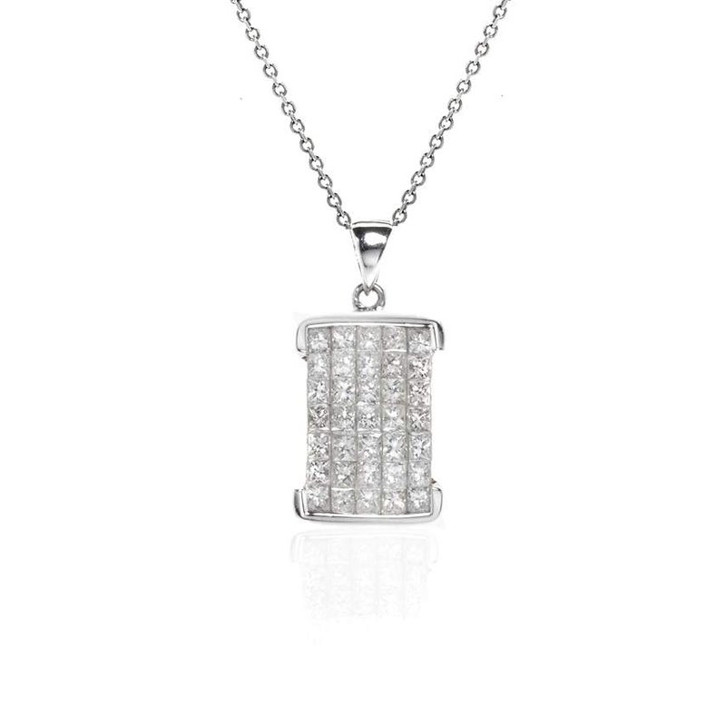 14K White Gold Invisibly Set Diamond Necklace