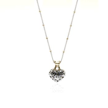 14K Yellow and White Gold Diamond Heart Necklace