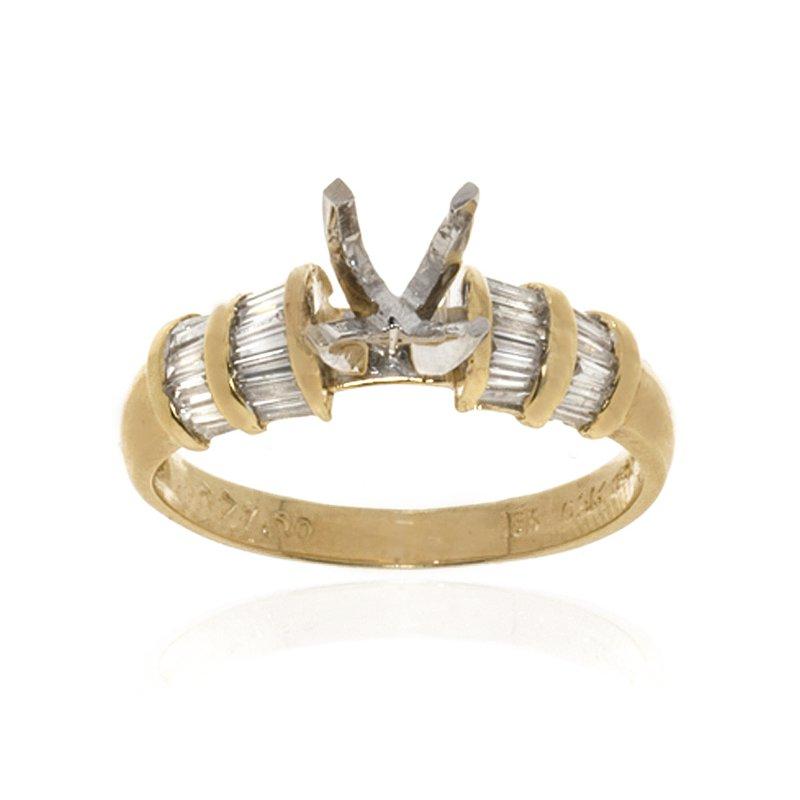 18K Yellow Gold Diamond and Semi-Mount Engagement Ring