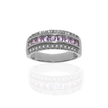 14K White Gold Diamond and Pink Sapphire Wedding Band