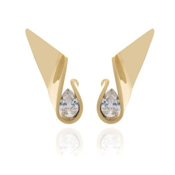 14K Yellow Gold and Cubic Zirconia Earrings