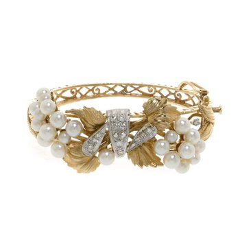 14K  Yellow Gold Diamond and Pearl Bangle Bracelet